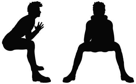 EPS 10 Vector of man silhouette in Sitting position on white background Stock Illustratie