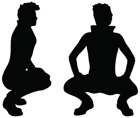 squat: EPS 10 Vector of man silhouette in Squat position on white background Illustration