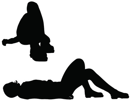 EPS 10 Vector of woman silhouette in Reclining position on white background Illustration