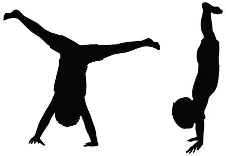 anger kid: EPS 10 Vector. Bambini Sagome in posizione di Cartwheel isolato su bianco. Vettoriali