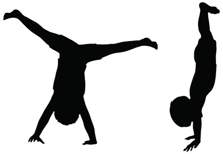 cartwheel: EPS 10 Vector. Kids Silhouettes in position of Cartwheel isolated on white. Illustration
