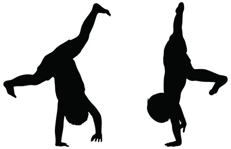 EPS 10 Vector. Kids Silhouettes in position of Cartwheel isolated on white. Illustration