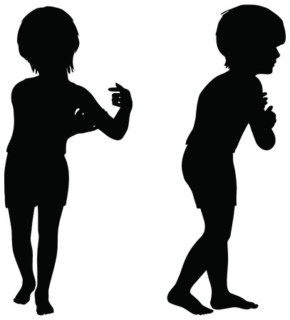 craze: EPS 10 Vector. Kids Silhouettes in position of Clinging isolated on white. Illustration