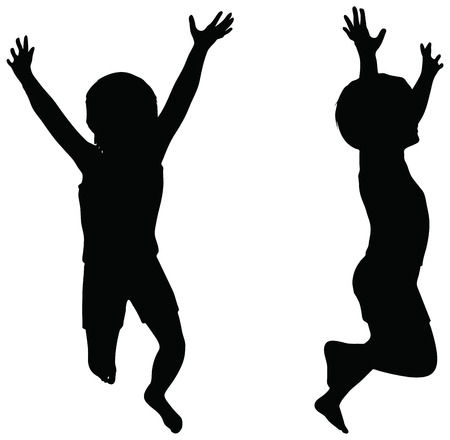 anger kid: EPS 10 Vector. Bambini Sagome in posizione di salto isolato su bianco.