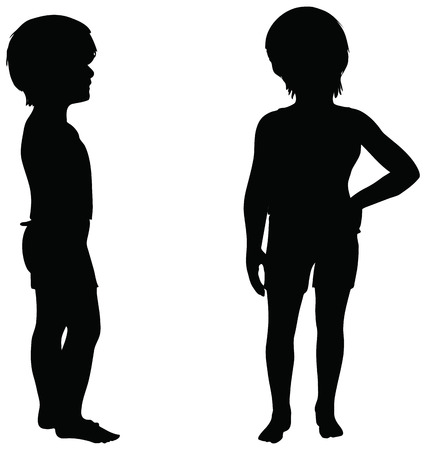 craze: EPS 10 Vector. Kids Silhouettes in position of Standing isolated on white. Illustration