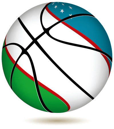 uzbekistan: EPS 10 Vector. Basketball ball with Uzbekistan flag on white.