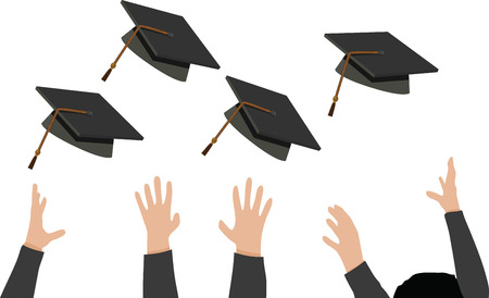tossing: Illustration of Tossing of Graduation Cap - Black Mortarboard