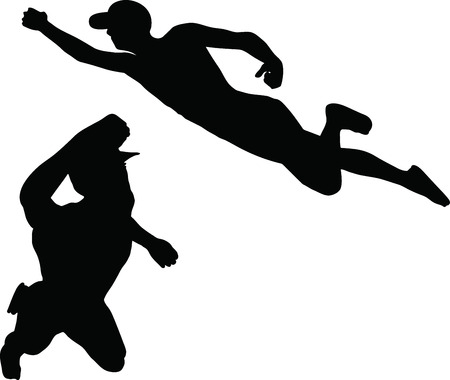 Illustration of silhouette of superhero flying