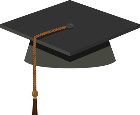 Illustration of Graduation Cap - Black Mortarboard