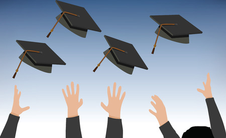 tossing: Illustration of Tossing of Graduation Cap - Black Mortarboard