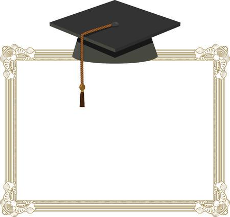 Illustration of Graduation Cap - Black Mortarboard on Diploma