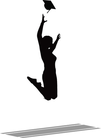 sillhouette: Illustration of Jumping in the Air for the Graduation Cap - Black Mortarboard