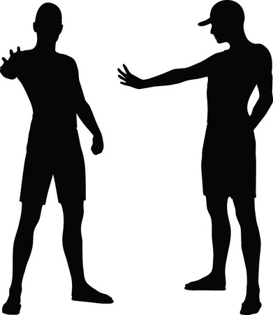 EPS 10 Vector Illustration of sportive man silhouette