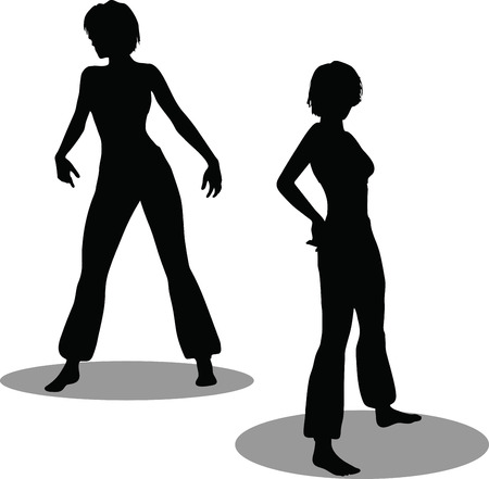 EPS 10 Vector Illustration of dancer woman silhouette