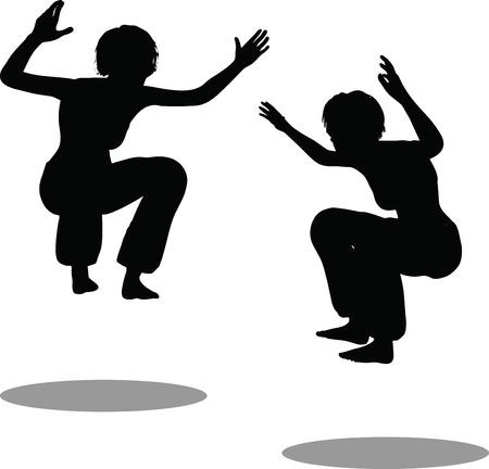 hip hop silhouette: EPS 10 Vector Illustration of dancer woman silhouette