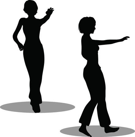 EPS 10 Vector Illustration of dancer woman silhouette