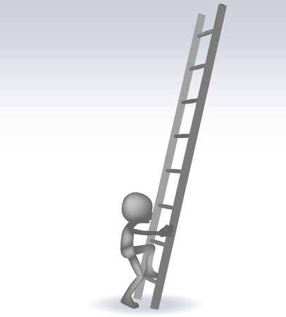clear out: EPS 10 Vector Illustration of 3d man with a stairs