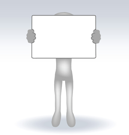 blank expression: 3d man holding a page on white backround, isolated