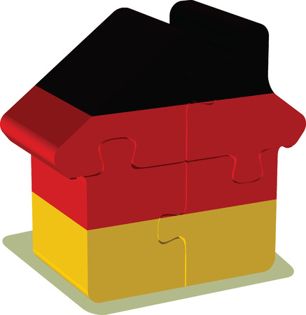 EPS 10 Vector Illustration of House puzzle in German Flag Vector