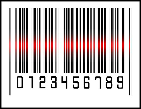 EPS 10 Vector Illustration of Bar Code icon and red laser sensor beam Vector