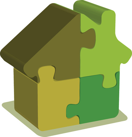 EPS 10 Vector Illustration of House puzzle Vector