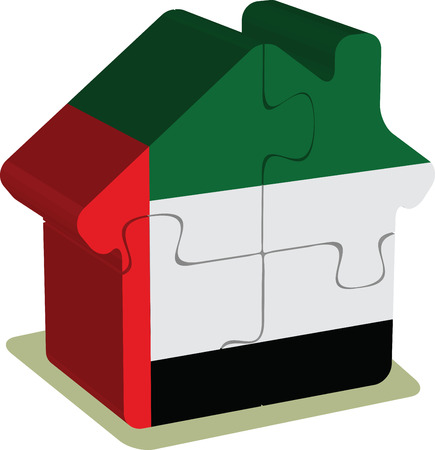 EPS 10 Vector Illustration of House puzzle in United Arab Emirates Flag Vector