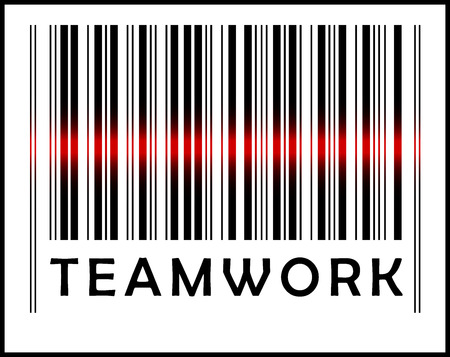 EPS 10 Vector Illustration of Bar Code icon and red laser sensor beam over teamwork Vector