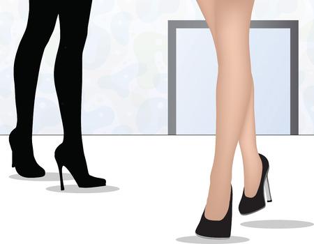 옥내의: EPS는 여자 다리의 열 벡터 걷고, 실내 활동 일러스트