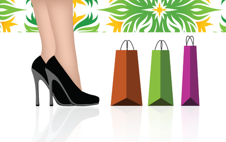 EPS 10 Vector Illustration of Woman legs with shopping bags Stock Vector - 27425217