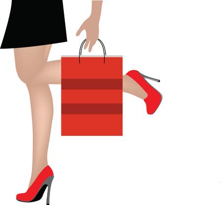 woman lying down: EPS 10 Ilustraci�n del vector de la Mujer en las piernas con bolsas de la compra
