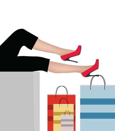 EPS 10 Vector Illustration of Woman legs with shopping bags Stock Vector - 27425224