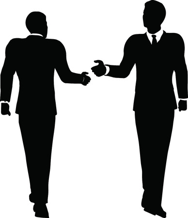 EPS 10 Vector illustration of business handshake silhouette Vector