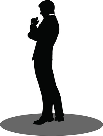 EPS 10 Vector illustration of business standing silhouette Vector