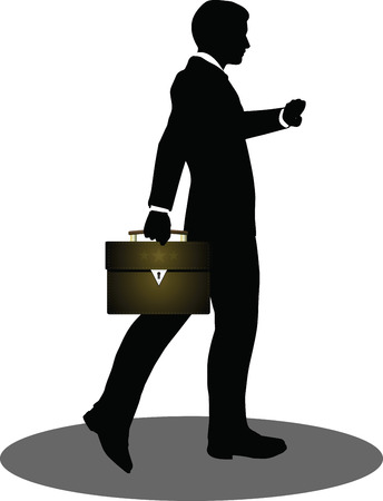 EPS 10 Vector illustration of business people walking with briefcase silhouette Vector