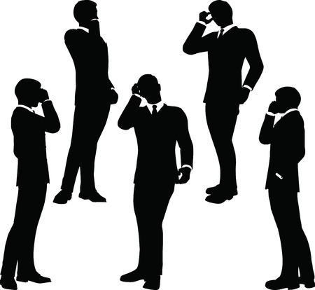 EPS 10 Vector illustration of business people on phone standing silhouette Vector