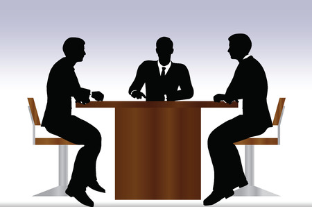 EPS 10 Vector illustration of business people meeting sitting silhouette