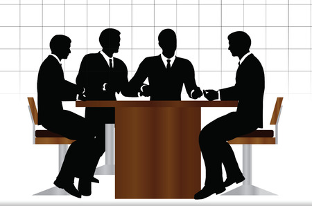 EPS 10 Vector illustration of business people meeting sitting silhouette Stock Illustratie