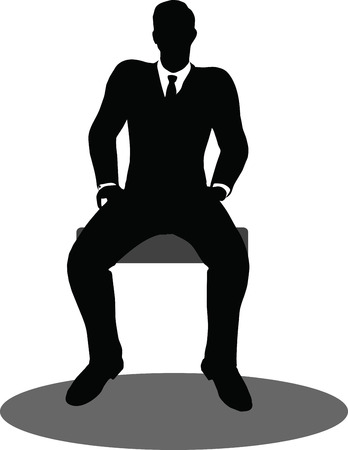 EPS 10 Vector illustration of business people meeting sitting silhouette Vector