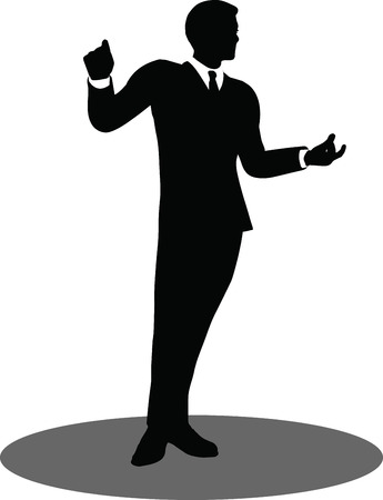 EPS 10 Vector illustration of business people meeting standing silhouette Vector