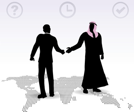 Doing business in middle east hand shake on business agreement Vector
