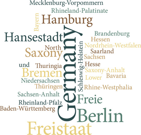 bremen: Illustration of the German States in word clouds isolated on white background