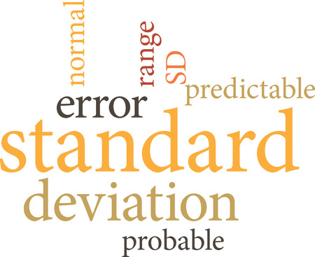 Illustration of the word standard deviation in word clouds isolated on white background Illustration