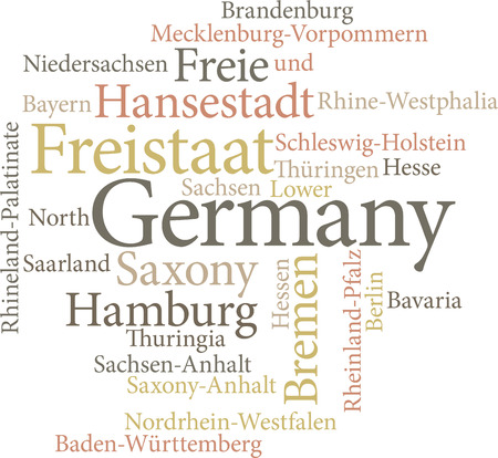 Illustration of the German States in word clouds isolated on white background