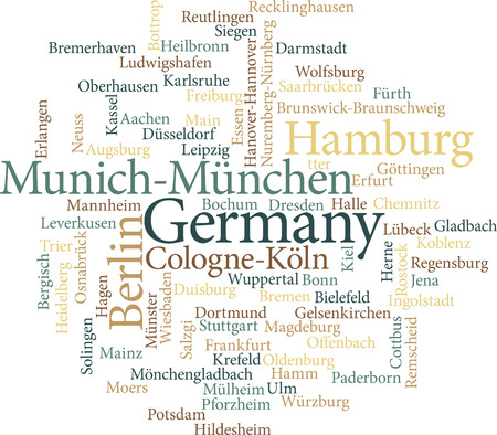 Illustration of the German Cities in word clouds isolated on white background Vector