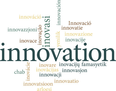 Illustration of the word innovation in word clouds isolated on white background