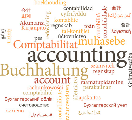 auditing: Illustration of the word accounting in word clouds isolated on white background Illustration