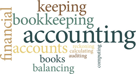 submission: Illustration of the word accounting in word clouds isolated on white background Illustration