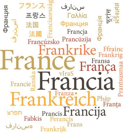 napoleon: Illustratie van de France in woord wolken op een witte achtergrond