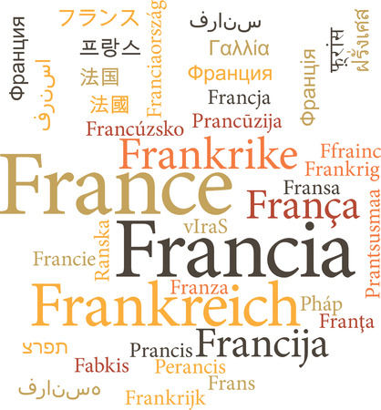 gallic: Illustration of the France in word clouds isolated on white background