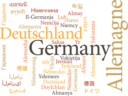 germanic: Vector illustration of Germany in word clouds isolated on white background Illustration
